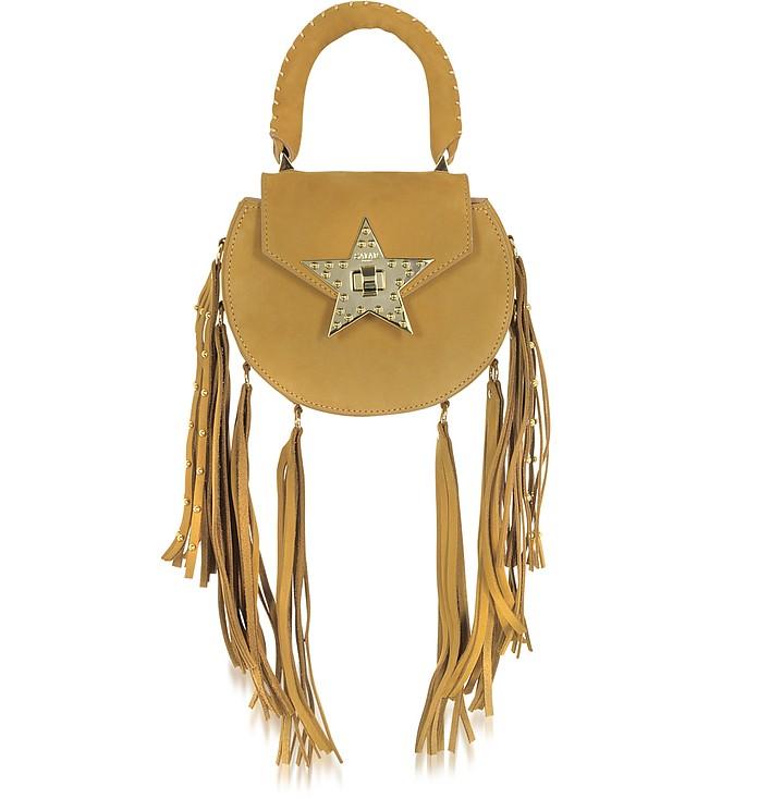 Mimi Fringe Cognac Nubuck Shoulder Bag w/Star - Salar
