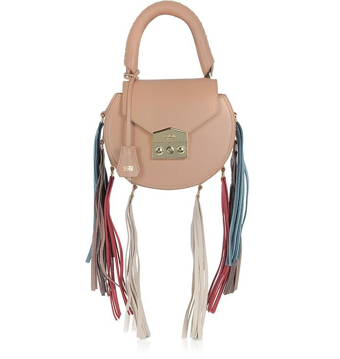 Mimi Rainbow Cognac Leather Shoulder Bag w/Fringes - Salar