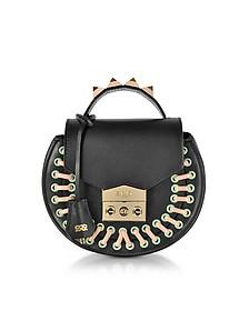 Claire Pocket Black Leather Shoulder Bag - Salar