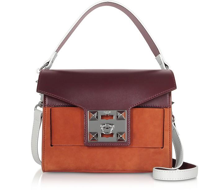 Mila Color Block Leather Shoulder Bag - Salar