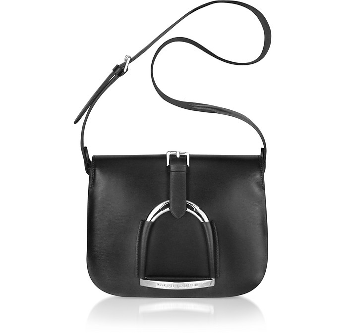 518189240df6 Ralph Lauren Collection Stirrup - Black Leather Shoulder Bag at FORZIERI