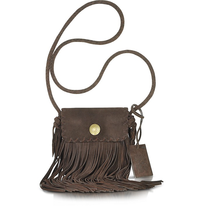 Fringed Flat Suede Crossbody Bag - Ralph Lauren Collection
