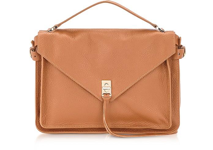 Cognac Embossed Leather Darren Messenger Bag - Rebecca Minkoff