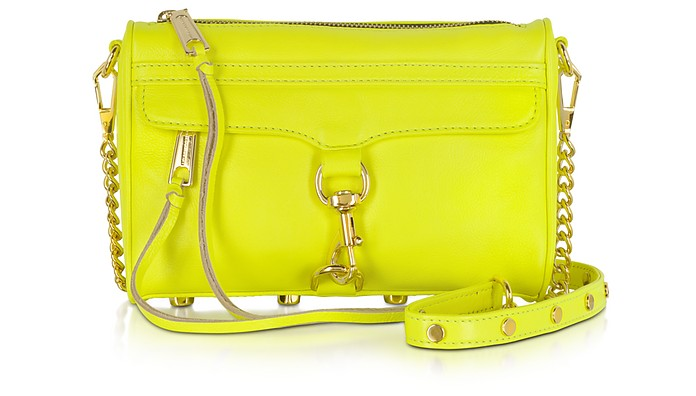 Mini M.A.C. Neon Yellow Leather Clutch w/Shoulder Strap - Rebecca Minkoff