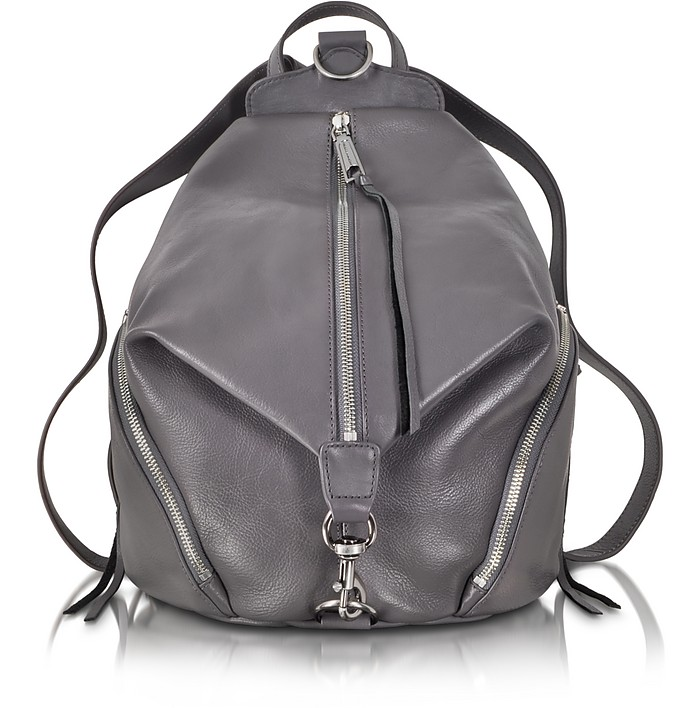 Dark Grey Leather Julian Backpack - Rebecca Minkoff