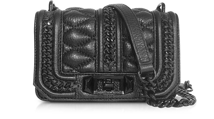 Mini Love in Chains Black Leather Crossbody Bag - Rebecca Minkoff
