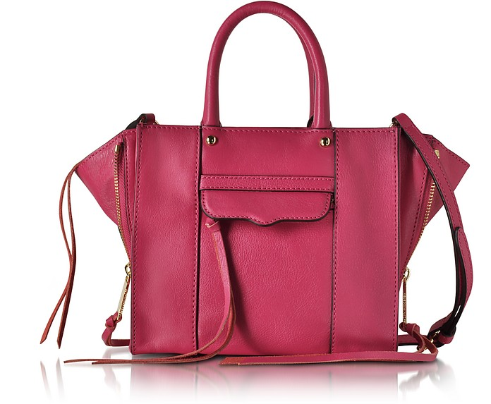 Bright Fuchsia Leather Side Zip MAB Mini Tote - Rebecca Minkoff
