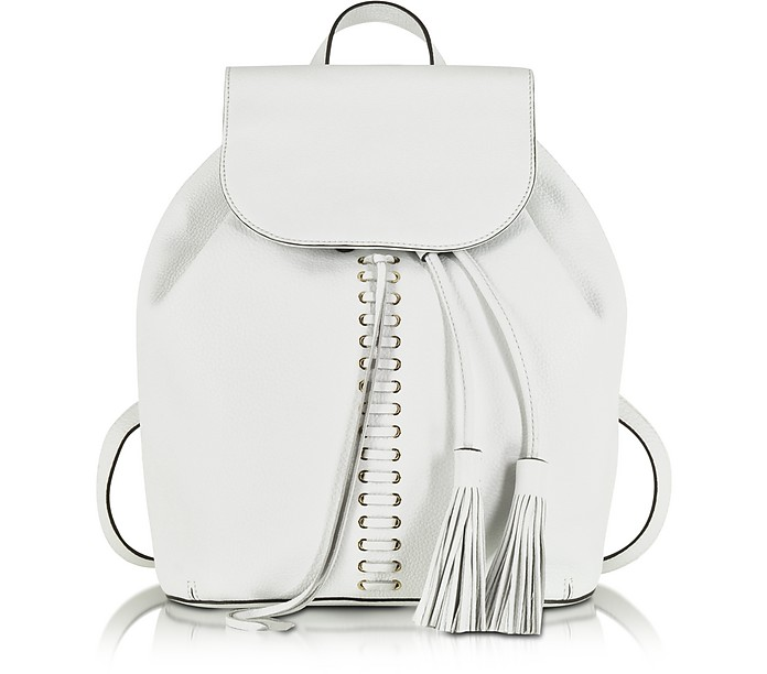White Leather Moto Backpack - Rebecca Minkoff