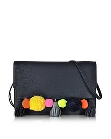 Sac à Bandoulière en Cuir Noir avec Pompons Multicolores - Rebecca Minkoff
