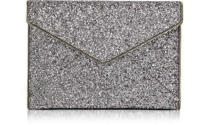 7d5616460 Rebecca Minkoff Silver Glitter Leo Envelope Clutch at FORZIERI