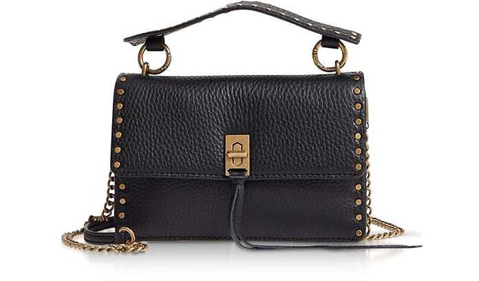 Black Leather Darren Top Handle Flap Crossbody - Rebecca Minkoff