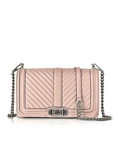 Vintage Pink Leather Chevron Quilted Love Crossbody Bag - Rebecca Minkoff