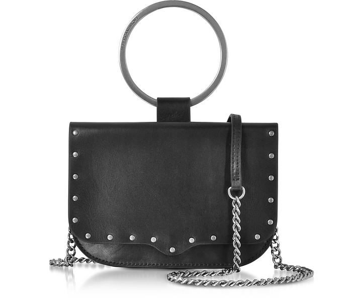 Black Leather Ring Crossbody Bag - Rebecca Minkoff