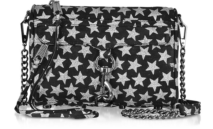 Black and Silver Stars Mini MAC Clutch/Shoudler Bag - Rebecca Minkoff
