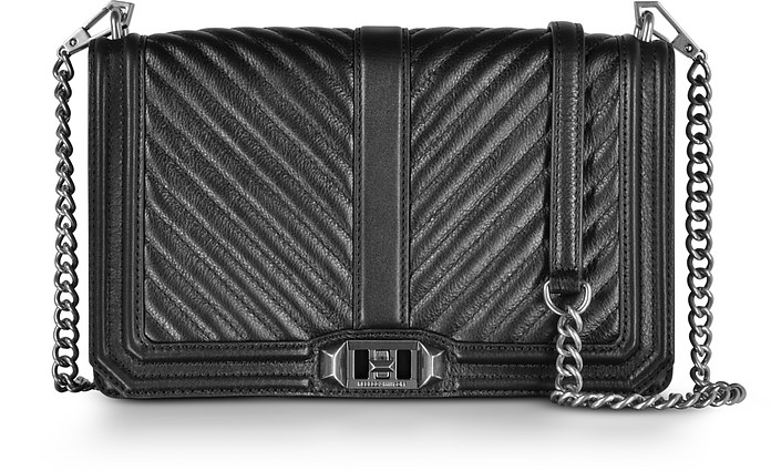 Black Chevron Quilted Leather Slim Love Crossbody Bag - Rebecca Minkoff