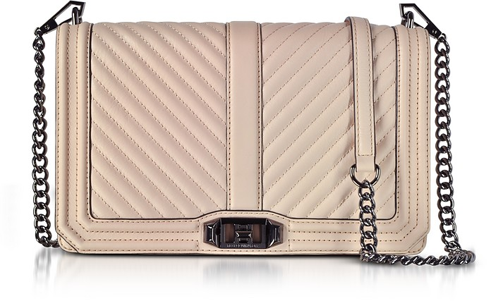 NUDE CHEVRON QUILTED LEATHER SLIM LOVE CROSSBODY BAG