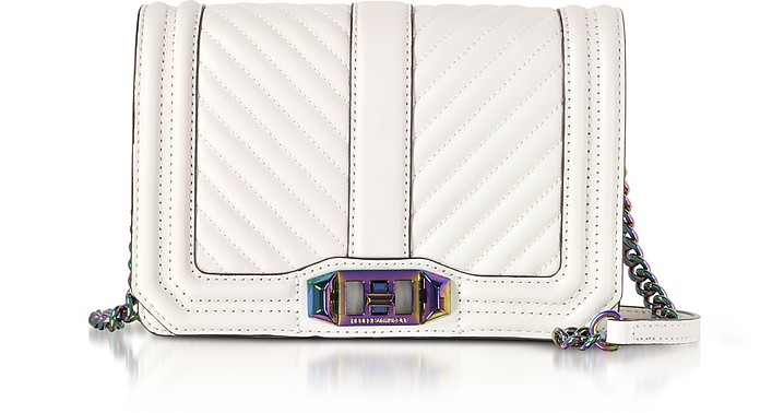 BIANCO CHEVRON QUILTED LEATHER SMALL LOVE CROSSBODY