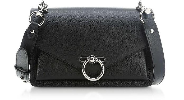 Black Caviar Leather Jean Medium Shoulder Bag - Rebecca Minkoff