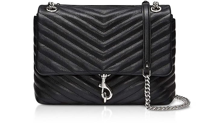 Edie Black Leather Flap Shoulder Bag - Rebecca Minkoff