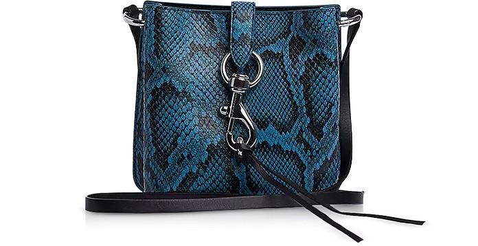 Megan Mini Cement Blue Leather Feed Bag - Rebecca Minkoff