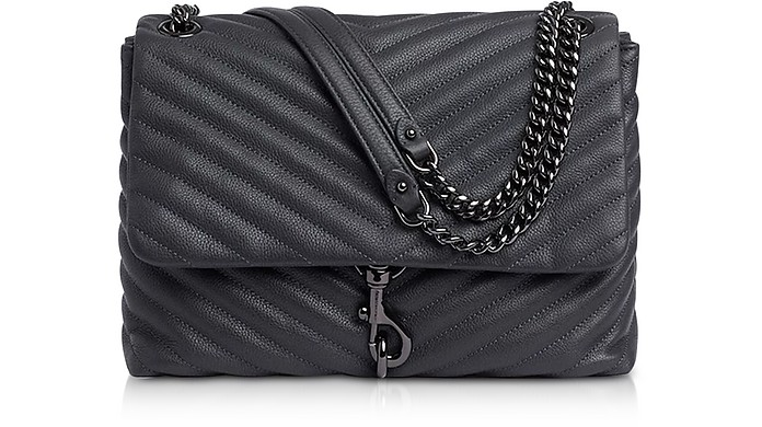 Edie Deep Slate Leather Flap Shoulder Bag - Rebecca Minkoff