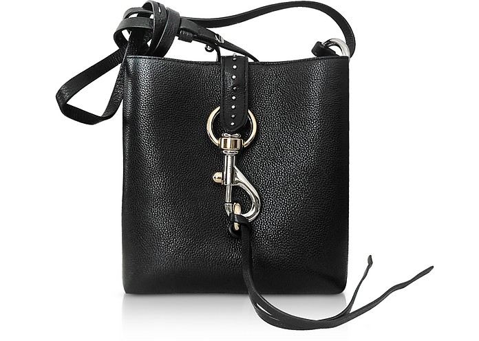 Megan Mini Black Leather Feed Bag with Studs - Rebecca Minkoff