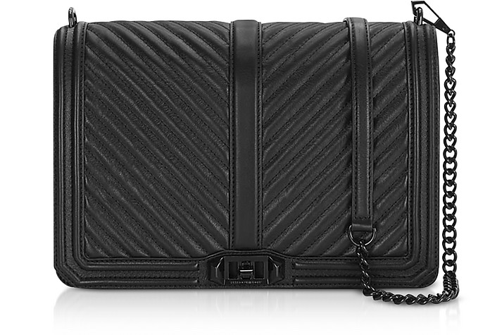 Jumbo Love Black Leather Chevron Quilted Crossbody Bag - Rebecca Minkoff