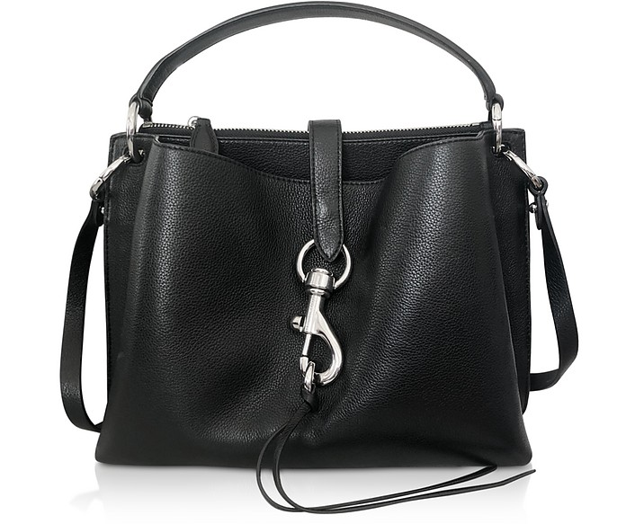 Megan Black Leather Satchel Bag - Rebecca Minkoff