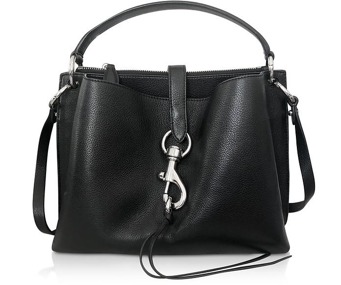 Megan Black Leather Satchel Bag - Rebecca Minkoff