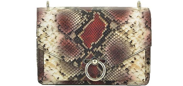 Beige/Bordeaux Snake Print Shoulder Bag - Rebecca Minkoff