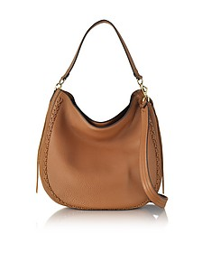 Almond Leather Unlined Convertible Hobo Bag w/Whipstitch - Rebecca Minkoff
