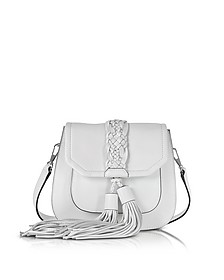 Isobel Optic White Front Pocket Saddle Bag - Rebecca Minkoff