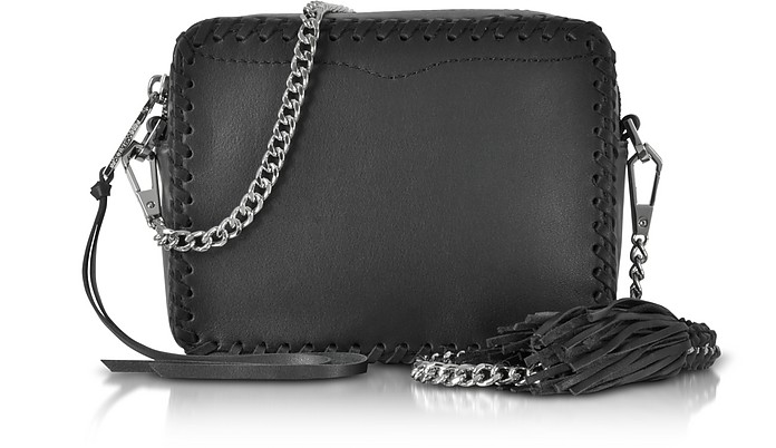 Black Leather Chase Camera Crossbody Bag - Rebecca Minkoff