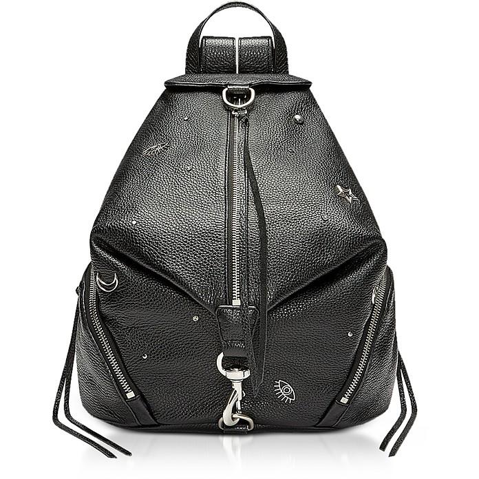 Black Grainy Leather Julian Backpack w/Charms - Rebecca Minkoff