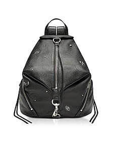 Black Grainy Leather Julian Backpack w/Pins - Rebecca Minkoff