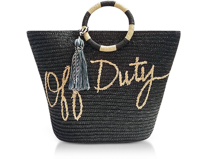 Off Duty Black Straw Tote - Rebecca Minkoff