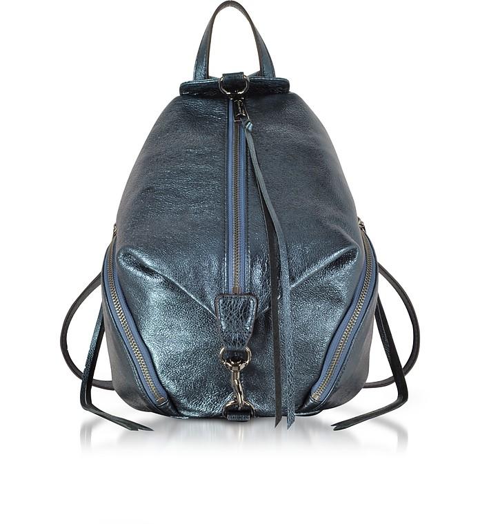 Octavio Blue Laminated Leather Medium Julian Backpack - Rebecca Minkoff