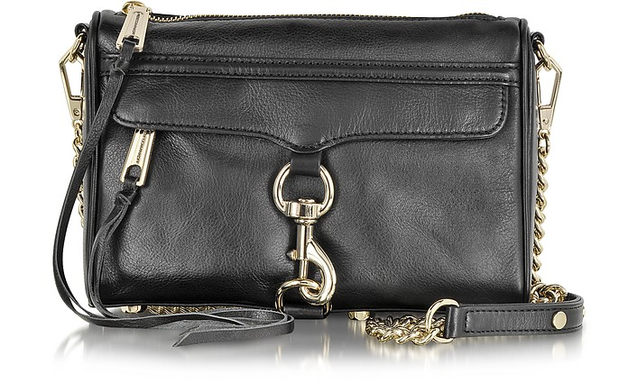Rebecca Minkoff Black Leather Mini MAC Crossbody Bag at FORZIERI 0cb990cd9c