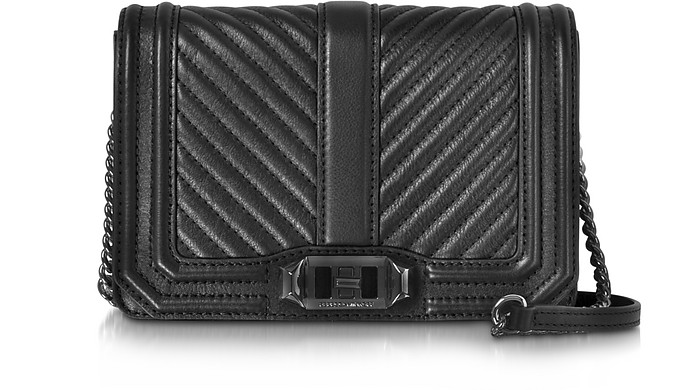 reasonable price clearance sale best sale Rebecca Minkoff Black Chevron Quilted Leather Small Love Crossbody ...