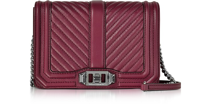 Rebecca Minkoff Beet Chevron Quilted Leather Small Love Crossbody