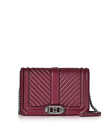 Beet Chevron Quilted Leather Small Love Crossbody Bag - Rebecca Minkoff