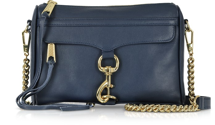 True Navy Leather Mini M.A.C. Crossbody Bag - Rebecca Minkoff