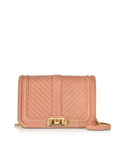 Small Dusty Peach Quilted Leather Love Crossbody Bag - Rebecca Minkoff