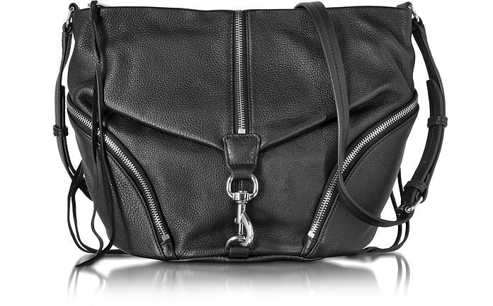 Black Pebbled Cowhide leather Julian Messenger Bag - Rebecca Minkoff