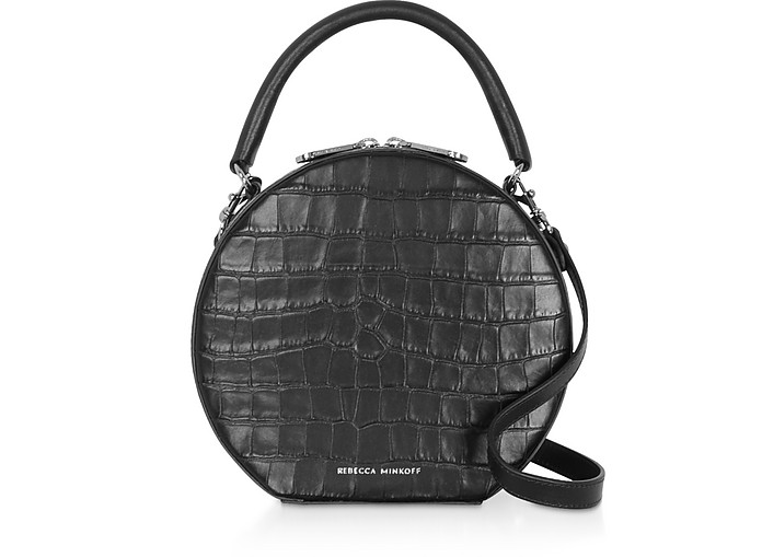 Croco Embossed Leather Circle Bag Crossbody Bag - Rebecca Minkoff