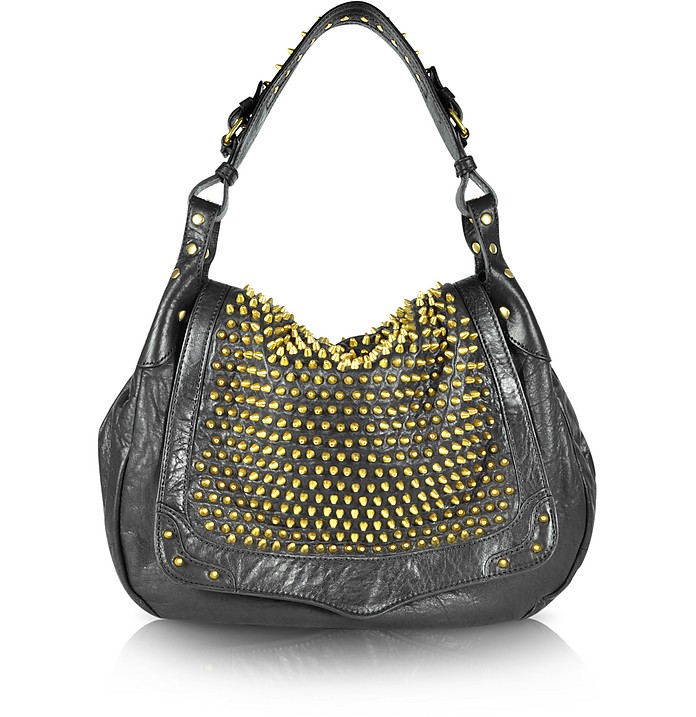Moonstruck - Spiked Leather Hobo - Rebecca Minkoff