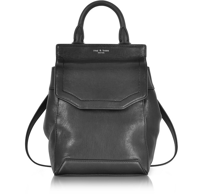 BLACK LEATHER SMALL PILOT BACKPACK II