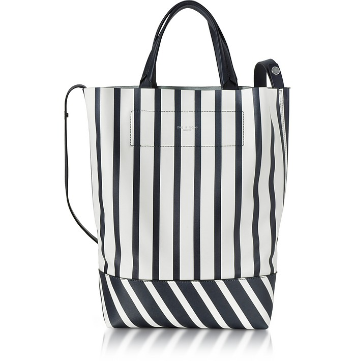 White and Navy Blue Striped Leather Walker Convertible Tote Bag - Rag & Bone