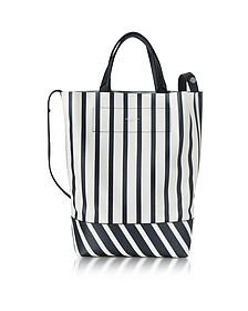 White and Navy Blue Striped Leather Walker Covertible Tote Bag - Rag & Bone