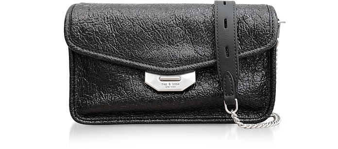 Black Crackle Leather Field Clutch - Rag & Bone